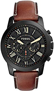 Fossil Men's Grant Quartz Stainless Steel and Leather Chronograph Watch, Color: Black, Brown (Model: FS5241)