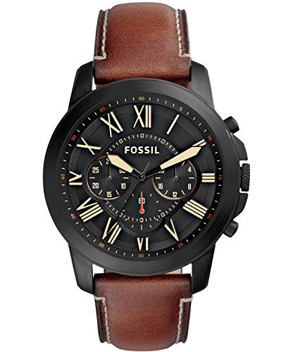 Fossil Men's Grant Stainless Steel Quartz Watch with leather Strap, BlackIP, 22...