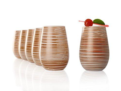 Stölzle Lausitz Becher Twister, 465 ml, 6er Set, in weiß (matt) und Bronze, universell einsetzbar, für Wasser, Säfte, Cocktails, Wein, Windlicht, Vase, spülmaschinenfest