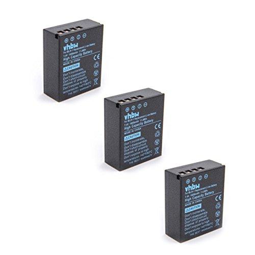 vhbw 3X Akku Ersatz für Olympus BLH-1 Kamera Digicam DSLR (1600mAh, 7.4V, Li-Ion)