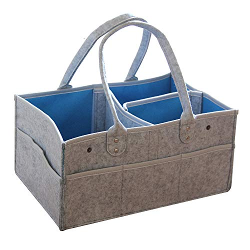 Baby Windel Caddy Organizer Korb tragbar Storage Bin groß Kindergarten Tasche mit Wechselbaren Fächer für für Wickelkommode, Beißring, Windel, Best Baby Geschenk Korb(MARKKEER) (grau)