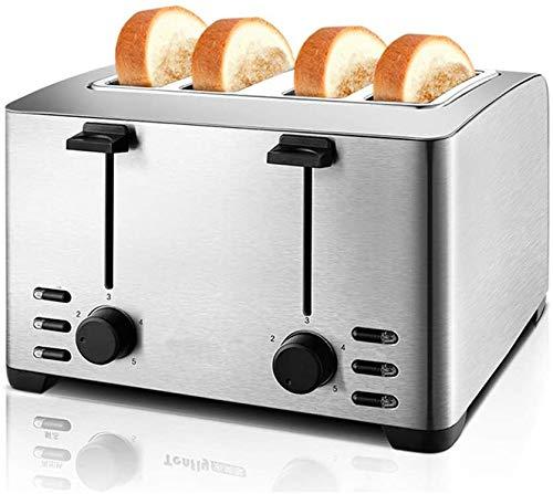 Toaster 4 Scheibe, 5 Drehzahlverstellung, Auftauen Auftauen, leicht zu reinigen, für Bagels, Specialty Brot & andere Backwaren, bewegliche Hauptküche, Silber,Silber