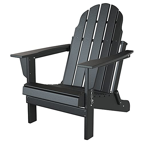 Folding Adirondack Chair, Patio Outdoor Chairs, HDPE Plastic Resin Deck Chair, Painted Weather Resistant, for Deck, Garden, Backyard & Lawn Furniture, Fire Pit, Porch Seating Black by Gettati
