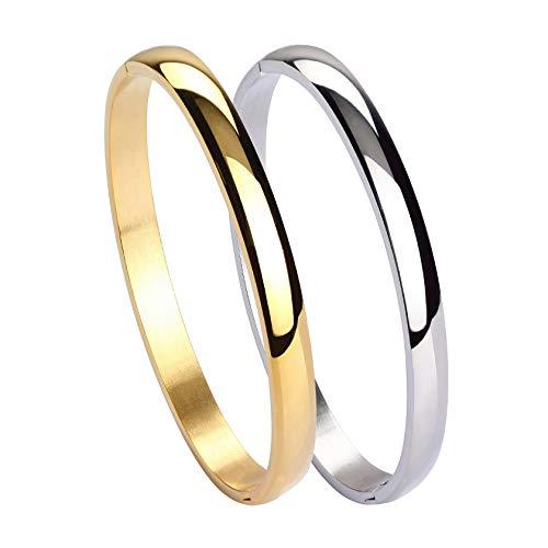 MILAKOO Damen Herren Edelstahl Armband glatt poliert Manschette Armreif ovale Form