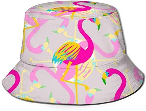 Bernice Winifred Sombreros de Cubo Transpirables con Parte Superior Plana Unisex Flamingo Brillante Pájaros Sombrero de Cubo Sombrero de Pescador de Verano-Pájaros de Flamenco Brillante Talla única