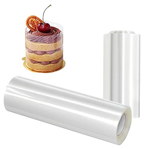 Collares para tartas, 2 rollos de tiras de acetato transparente, hojas duras para tartas, collares de 15 cm x 10, 10 cm x 10 m, para tarjetas de chocolate y mousse para decoración de pasteles
