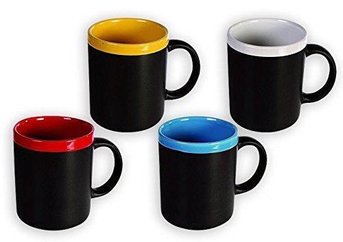 Close Up Memo Tassen im 4er-Set - Kreidetafel auf Becher/Kreidebecher - individuell gestaltbare Tassen mit persönlicher Nachricht