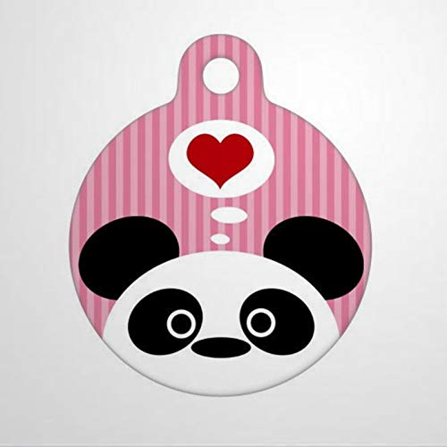 BYRON HOYLE Pet ID Tag Panda Love (Pink) Custom Engraved Puppy Tag Stainless Steel Dog Cat ID Tags Front & Back Text Alloy Sign Durable Pet License Plate Pet Gift