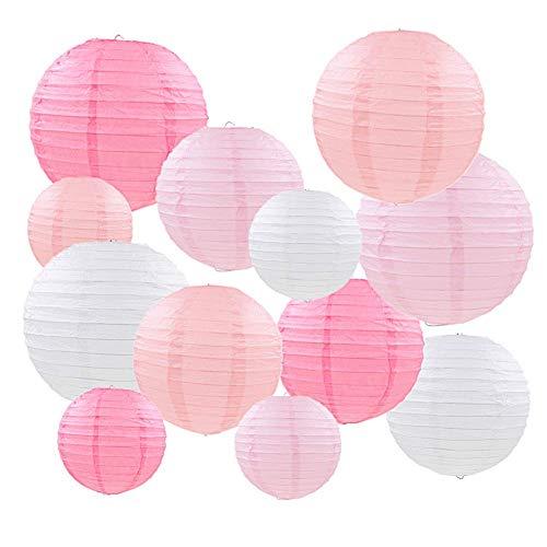Mondeer Papierlaternen, 12 STÜCKE Rosa Chinesische Runde Laterne Ballon Hängen Dekorationen mit Verschiedenen Größen für Hochzeit Geburtstag Baby Shower Party Home Decor-6