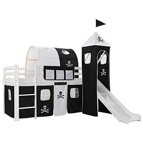 Letto a Castello per Bambini Scivolo e Scala in Pino 97x208cmArredamento Mobili per bebè e bimbi Lettini e letti per bimbi