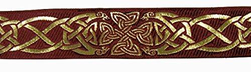 10m Keltische Borte Webband 35mm breit Farbe: Bordeaux-Gold von 1A-Kurzwaren 35030-bogo