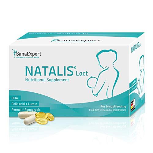 SanaExpert Natalis Lact   INTEGRATORE PER L'ALLATTAMENTO   con DHA, acido folico, finocchio e fieno greco (90 capsule). Ingredienti 100% naturali. Prodotto in Germania.