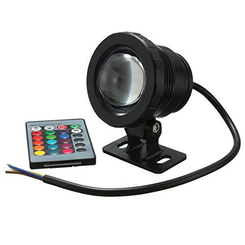 BiaBai Luz LED RGB impermeable de 10 W, fuente de jardín, estanque, foco de piscina, lámpara de luz subacuática súper brillante con control remoto