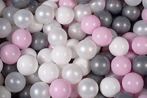 MEOWBABY 400 ∅ 7Cm Bolas Certificadas para Niños Bolas de Baño de Colores Bolas de Plástico para Niños Piscina Fabricadas en EU Rosa Pastel/Blanco/Blanco Perla/Plata