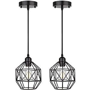 Pendant Lights, Retro Style, Hanging lights, Vintage Loft Design Industrial Lighting Fixture, Pendant lighting for Kitchen Island, Living Room, Bedroom, Dining Room Light Fixture with E26 Base, 2-Pack