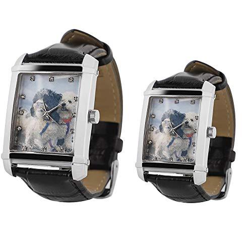Reloj de Pulsera de Fotos Alskafashion Personalizado para Parejas Reloj de día de Padres de Grabado Analógico Correa de Cuero Negro/Marrón Reloj para Mujers Regalo(1 par)