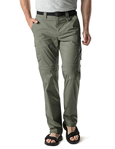 CQR Men's Convertible Cargo Pants, Water Repellent Hiking Pants, Zip Off Lightweight Stretch UPF 50+ Work Outdoor Pants, Convertible Cargo with Belt(txp403) - Olive, 34W x 32L