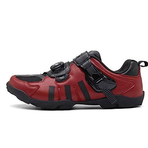 Zapatos De Bicicleta Sin Hacer Clic, Encaje Rápido, Suela De Goma, Referirse A La Longitud del Pie,Rojo,47