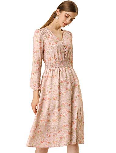 Allegra K Women's Floral Print Flowy Sundress V-Neck Midi Dress S Pink