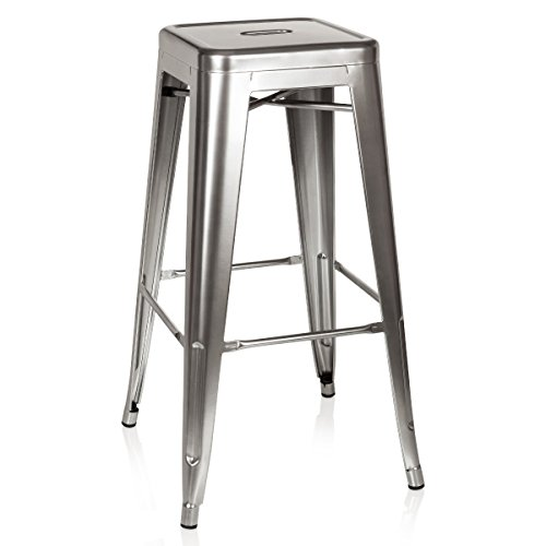 hjh OFFICE 645015 Tabouret Industriel Haut VANTAGGIO High Argent métallique, empilable