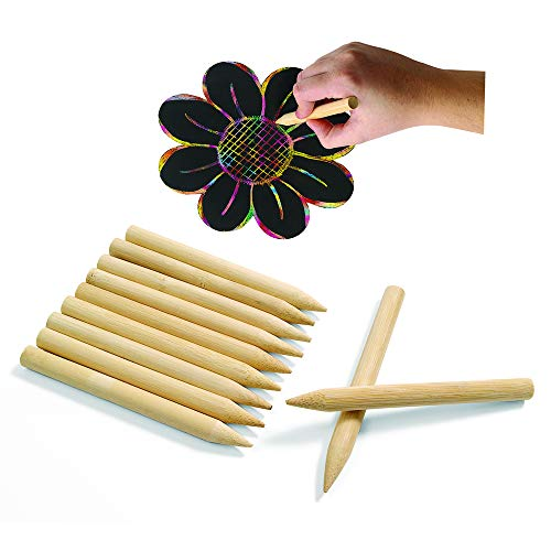 Colorations Jumbo Wooden Sticks for Scratch Art - Set of 48