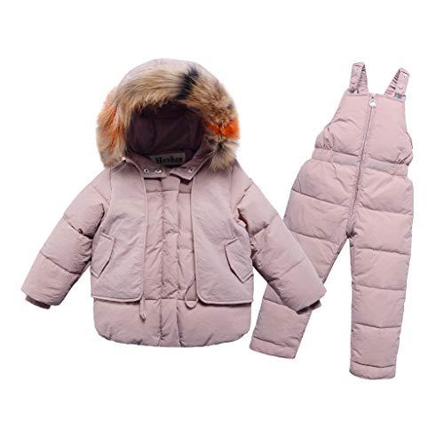 Cuteelf Kinder mit Kapuze Baumwolle Kleidung Daunenjacke große Kinder Mädchen Pelzkragen Mantel + Daunen Latzhose Zwei Sätze von Kinder Winter warme Kapuzenmantel Overall