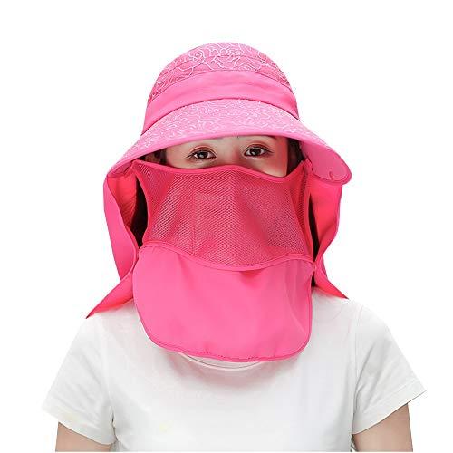 HANSHAN Unisex del Visera de Sol Sombreros-Protección Solar Protección UV-ala Ancha Cap-extraíble con Cara y Cuello Solapa Casquillo de Sun-para Senderismo, Golf, Tenis, Aire Libre (Color : Red)