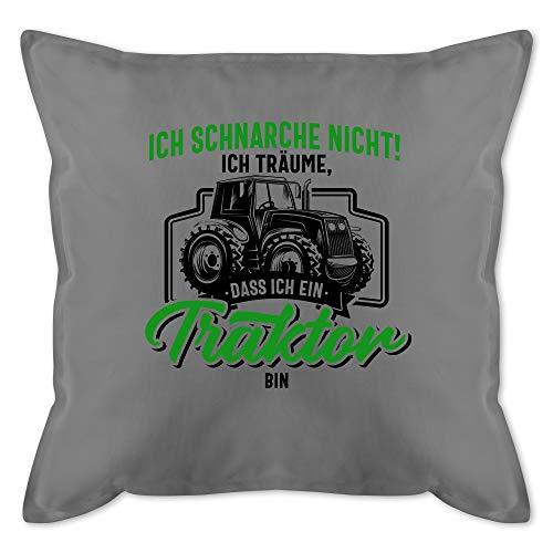 Kissen mit Spruch - Ich schnarche nicht ich träume dass ich ein Traktor bin schwarz bunt - Unisize - Grau - kissen traktor - GURLI Kissen mit Füllung - Kissen 50x50 cm und Dekokissen mit Füllung