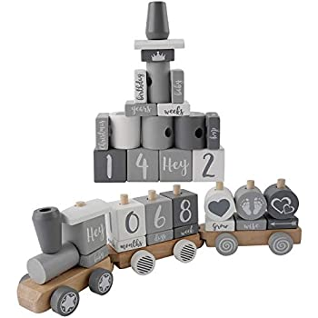 iFealClear Baby Milestone Blocks Train Building Block Premium Solid Wood Milestonefor Boy&Girls Baby Toys and Keepsake Baby Gift Birthday FullMoonSouvenirPicture Photography Props Decor,Grey