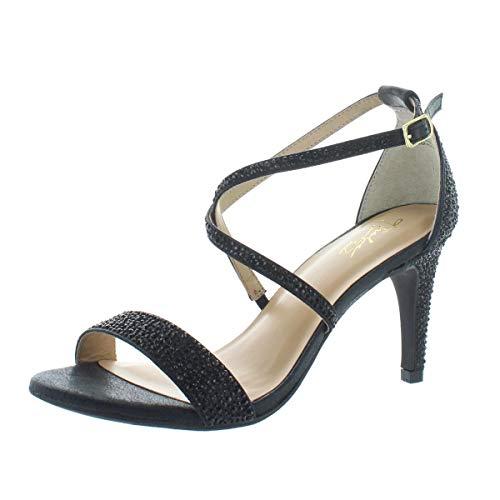 Thalia Sodi Womens Darria Strappy Heeled Sandals Black Metallic 10 M US