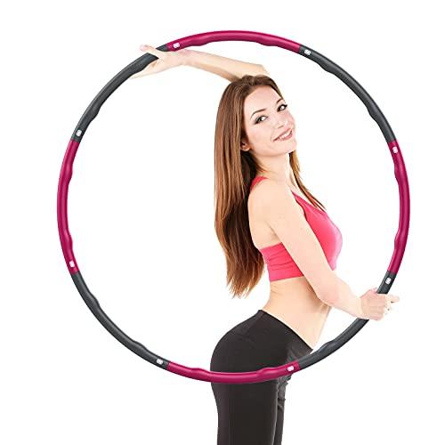 EOSVAP Hula Hoop Reifen, Einstellbare Gewichtsverlust Fitness Hula Hoop, Abnehmbarer Hula Hoop für Erwachsene und Kinder, 73-96 cm Durchmesser, Rosa und Grau