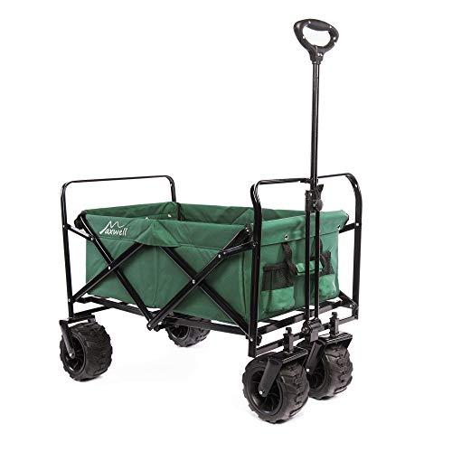 Maxwell Outdoor Heavy Duty Collapsible Folding All Terrain Utility Beach Wagon (Green)