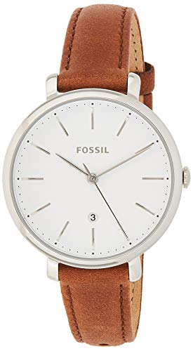 Fossil Women's Jacqueline Stainless Steel Quartz Watch with Leather Calfskin Strap, Brown, 14 (Model: ES4368)