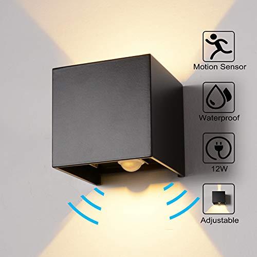 Wandleuchte Bewegungsmelder Aussen/Bewegungsmelder Innen LED Wandlampe, 12W Warmes Licht Wasserdicht Verstellbare Aussenlampe, Wandleuchte Sensor für Garten/Flur/Weg Veranda Hell-Eckig (Schwarz)