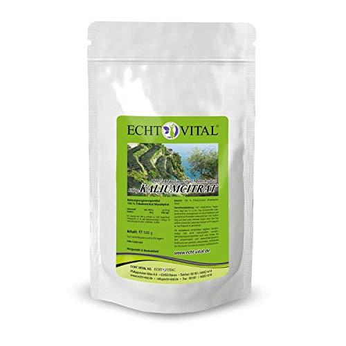 ECHT VITAL Kaliumcitrat Pulver 500 g | Pharmaqualität | vegan | hochdosiert | Potassium Citrate Powder (Kalium) | hergestellt und laborgeprüft in Deutschland
