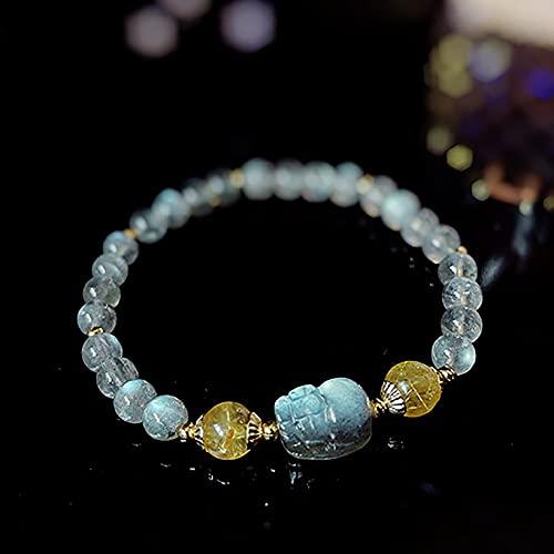 Deykhang Pulsera de Cristal de curación Natural Piedra de Luna PI XIU Feng Shui Pulsera Riqueza Chakra Curación de Piedras Preciosas Citrina Talismán Brazalete Prosperidad Feminidad Money Yin Energy