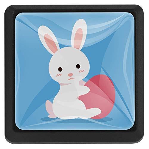 Vierkante ladeknoppen, 3 Packs 37mm Trekhendels met Bunny in Mand, Gebruikt voor Slaapkamer Dressoir Deur Kast Keuken Modern design 37x25x17mm/1.45x0.98x0.66in Bunny met rood ei