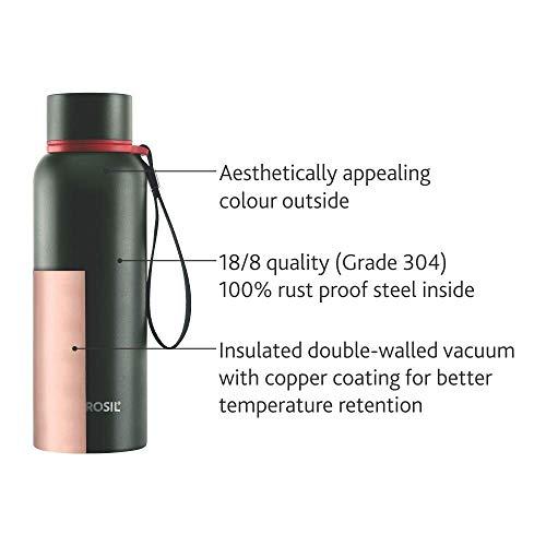 Borosil Hydra Trek Stainless Steel Bottle, 700ml, Set of 1, Black