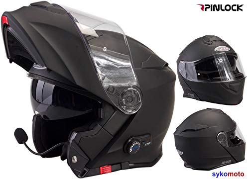 V171 Motorradhelm Viper BluetoothHelm Motorrad-Sturzhelm Klapphelm Touren Helm mit Sonnenblende - Matt Schwarz - S