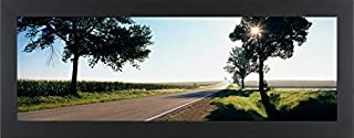 Easy Art Prints Panoramic Images's 'Road Passing Through Fields, Illinois Route 64, Illinois, USA' Premium Framed Canvas Art - 24