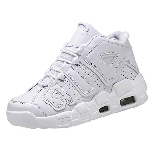 Goddessvan 2019 Men's Casual Sports Lace-up Shoes Comfortable Wearable High-Top Basketball Shoes Comfort Tennis Shoes White