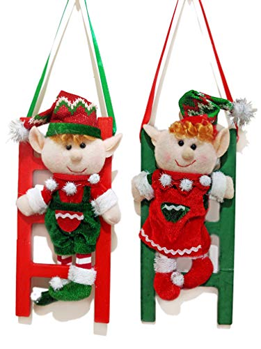 Plush Christmas Elf Boy Girl on Wooden Ladder Hanging Ornament Decoration for Holiday Xmas Gifts - Set of 2 (Elves on Ladders)