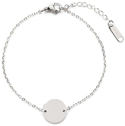 Happiness Boutique Damen Kreis Armband in Silberfarbe | Armband mit Plättchen Rund Disk Anhänger Geometrischer Schmuck