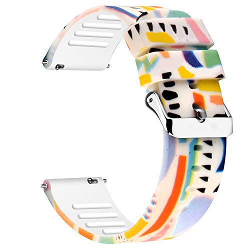 Uhada Colorful Watch Bands-Width 20mm,22mm-Quick Release & Choose Color-Soft Silicone Replacement Watch Straps (20mm, Colorful-06)
