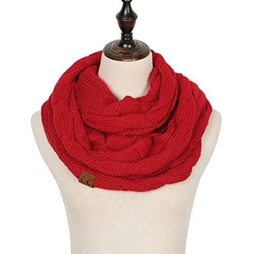 B/H Bufanda Fular Modernas,Bufanda de Anillo de Punto de otoño e Invierno,Bufanda cálida extendida y ensanchada roja,Cozy Moda Bufandas Largas de Chal Cálido