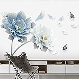 Planta de etiqueta de la pared 3D blancos grandes de flor de loto azul de la mariposa, desprendible mural del arte, for sala de estar dormitorio y cuarto de la muchacha la decoración del hogar, Vinilo