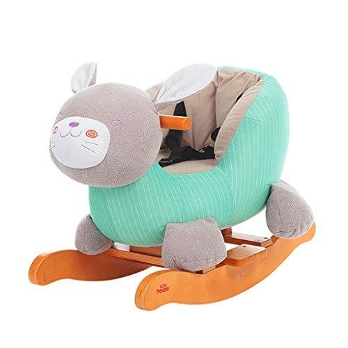 Xinjin Baby Schaukelpferd, Kinder reiten auf Spielzeug, Holz Baby Rocker für 1-3 Jahre Alten Jungen & Mädchen, Kleinkind, Plüsch Kuscheltier Reitpferd Stuhl, Kleinkind Geschenk
