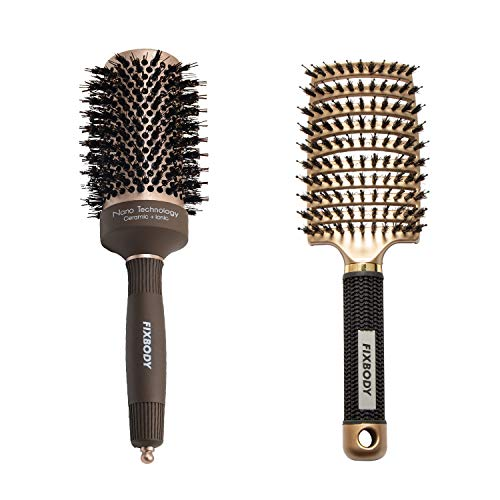 FIXBODY Boar Bristles Round Hair Brush, Nano Thermal Ceramic and Ionic Tech for Blow Drying | FIXBODY Curved Boar Bristles Hair Brush