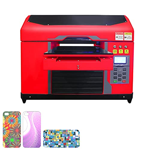 HXXXIN Drucker Small A3 Verbesserte Universal-Flachbett-Doppeldüse 3D-Lack Handy Shell Shell Zylindrische Farbdruckmaschine,Rot