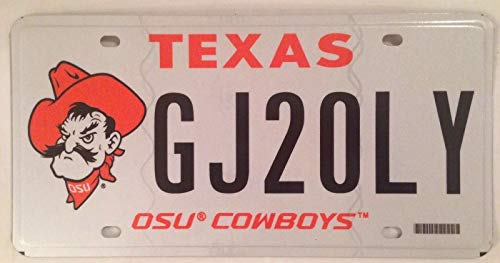 TammieLove Texas Oklahoma State University Osu Cowboys License Plate Cowboy Pistol Pete Ok 6x12 inches License Plate Sign